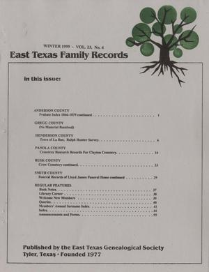 East Texas Family Records, Volume 23, Number 4, Winter 1999
