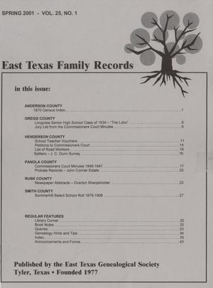 East Texas Family Records, Volume 25, Number 1, Spring 2001