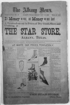 Primary view of object titled 'The Albany News. (Albany, Tex.), Vol. 13, No. 31, Ed. 1 Friday, November 13, 1896'.