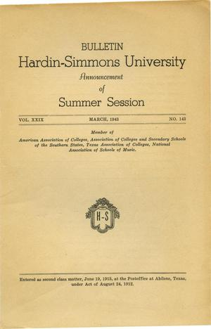 Primary view of object titled 'Catalogue of Hardin-Simmons University, 1943 Summer Session'.