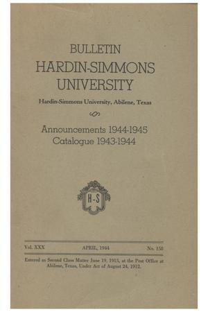 Primary view of object titled 'Catalogue of Hardin-Simmons University, 1943-1944'.