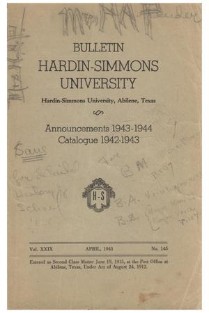 Primary view of object titled 'Catalogue of Hardin-Simmons University, 1942-1943'.