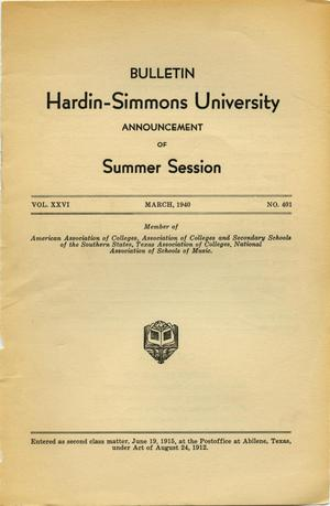 Catalogue of Hardin-Simmons University, 1940 Summer Session
