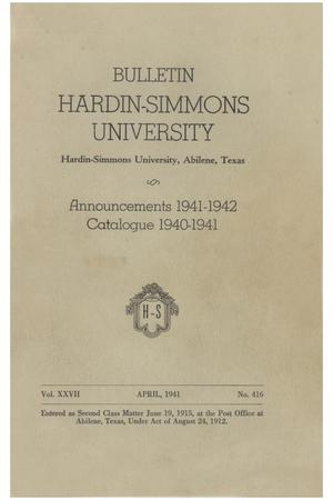 Primary view of object titled 'Catalogue of Hardin-Simmons University, 1940-1941'.