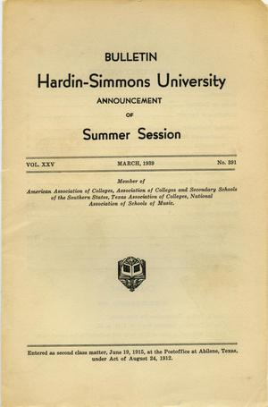 Primary view of object titled 'Catalogue of Hardin-Simmons University, 1939 Summer Session'.