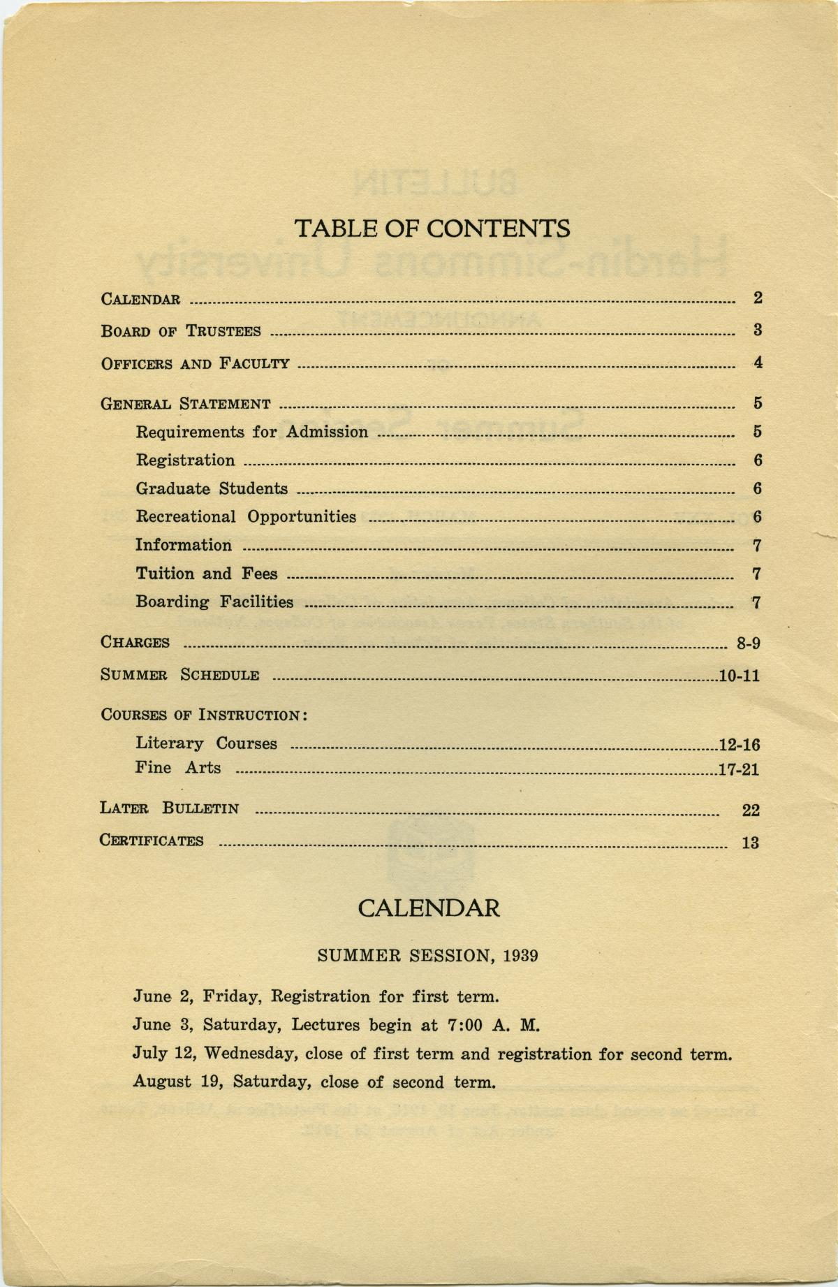 Catalogue of Hardin-Simmons University, 1939 Summer Session                                                                                                      Front Inside