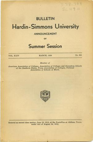 Primary view of object titled 'Catalogue of Hardin-Simmons University, 1938 Summer Session'.