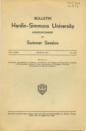Primary view of object titled 'Catalogue of Hardin-Simmons University, 1937 Summer Session'.