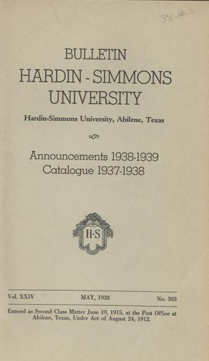 Primary view of object titled 'Catalogue of Hardin-Simmons University, 1937-1938'.