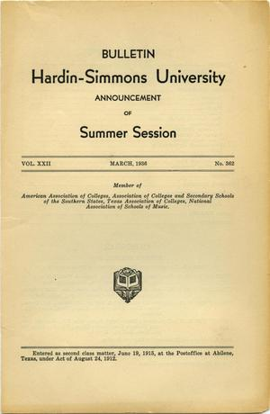 Catalogue of Hardin-Simmons University, 1936 Summer Session