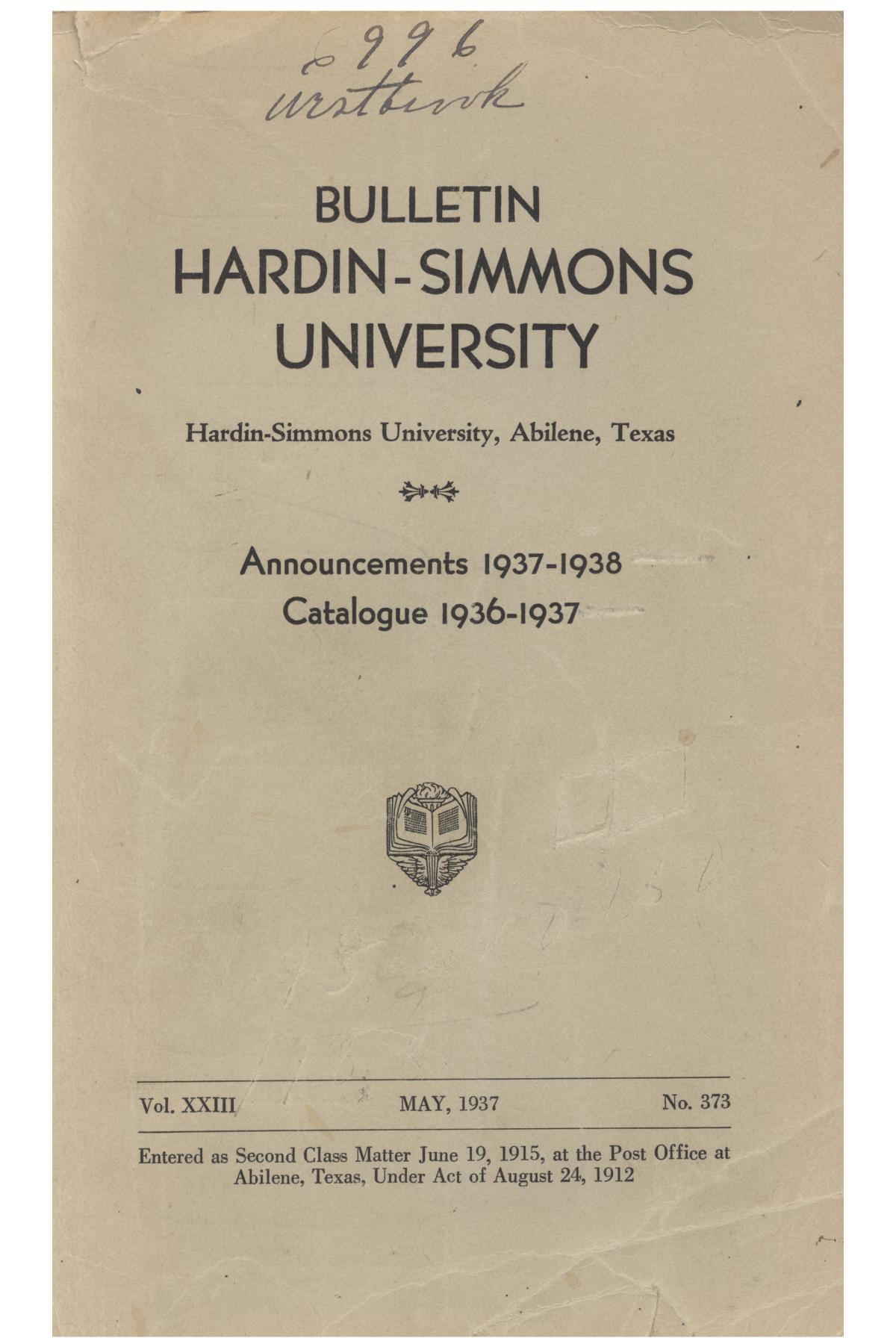 Catalogue of Hardin-Simmons University, 1936-1937                                                                                                      Front Cover
