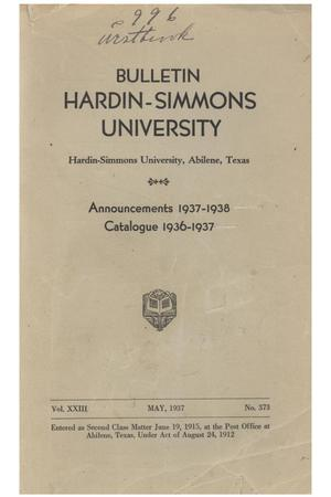 Primary view of object titled 'Catalogue of Hardin-Simmons University, 1936-1937'.