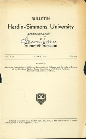 Primary view of object titled 'Catalogue of Hardin-Simmons University, 1935 Summer Session'.
