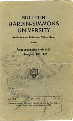 Primary view of object titled 'Catalogue of Hardin-Simmons University, 1935-1936'.