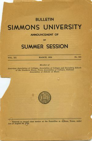 Primary view of object titled 'Catalogue of Simmons University, 1934 Summer Session'.