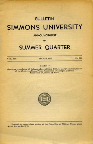 Primary view of object titled 'Catalogue of Simmons University, 1933 Summer Session'.