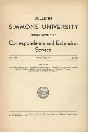 Primary view of object titled 'Catalogue of Simmons University, 1933, Correspondence and Extension Service'.
