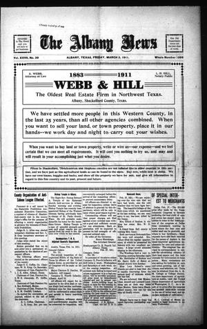 Primary view of The Albany News (Albany, Tex.), Vol. 27, No. 39, Ed. 1 Friday, March 3, 1911