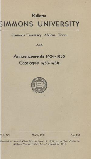 Primary view of object titled 'Catalogue of Simmons University, 1933-1934'.