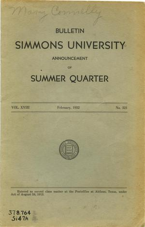 Primary view of object titled 'Catalogue of Simmons University, 1932 Summer Session'.