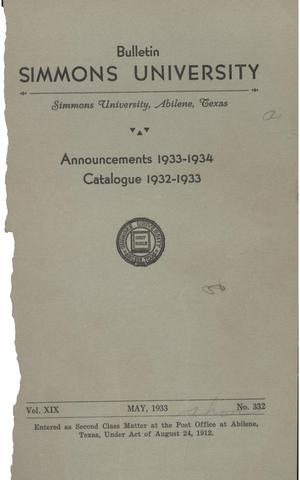 Primary view of object titled 'Catalogue of Simmons University, 1932-1933'.