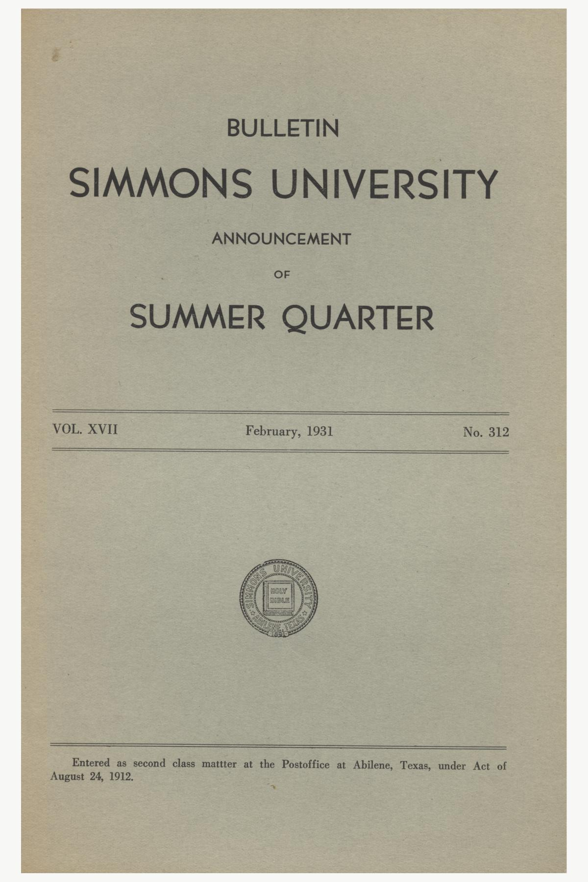 Catalogue of Simmons University, 1931 Summer Session                                                                                                      Front Cover