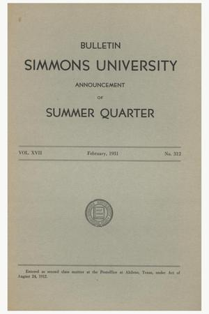 Catalogue of Simmons University, 1931 Summer Session