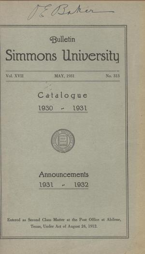 Primary view of object titled 'Catalogue of Simmons University, 1930-1931'.