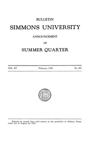 Primary view of object titled 'Catalogue of Simmons University, 1929 Summer Session'.