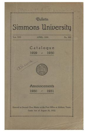 Primary view of object titled 'Catalogue of Simmons University, 1929-1930'.