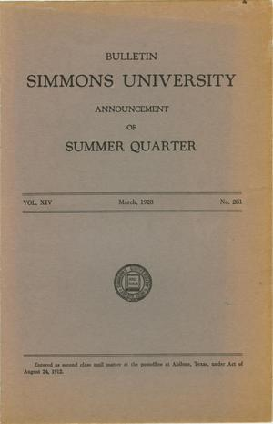 Primary view of object titled 'Catalogue of Simmons University, 1928 Summer Session'.