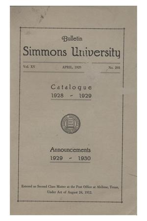 Primary view of object titled 'Catalogue of Simmons University, 1928-1929'.