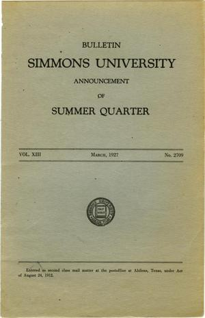 Primary view of object titled 'Catalogue of Simmons University, 1927 Summer Session'.