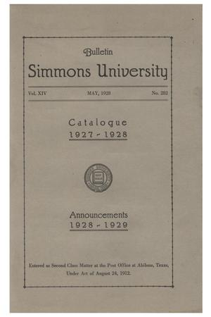 Primary view of object titled 'Catalogue of Simmons University, 1927-1928'.