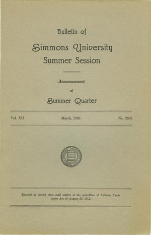 Primary view of object titled 'Catalogue of Simmons University, 1926 Summer Session'.