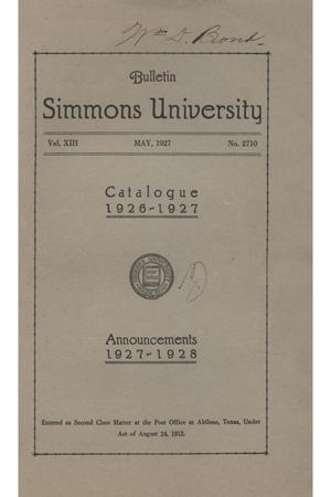 Primary view of object titled 'Catalogue of Simmons University, 1926-1927'.