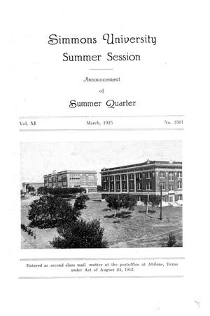 Primary view of object titled 'Catalogue of Simmons University, 1925 Summer Session'.