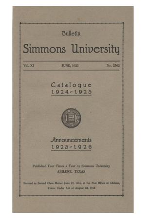 Primary view of object titled 'Catalogue of Simmons University, 1924-1925'.