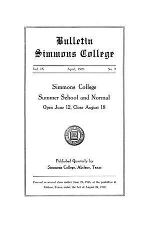 Primary view of object titled 'Catalogue of Simmons College, 1923 Summer School and Normal'.