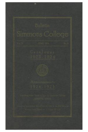 Primary view of object titled 'Catalogue of Simmons College, 1923-1924'.