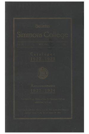 Primary view of object titled 'Catalogue of Simmons College, 1922-1923'.
