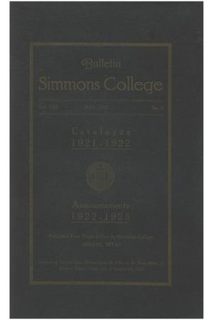 Primary view of object titled 'Catalogue of Simmons College, 1921-1922'.