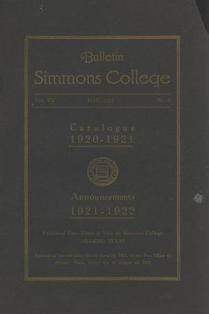 Primary view of object titled 'Catalogue of Simmons College, 1920-1921'.