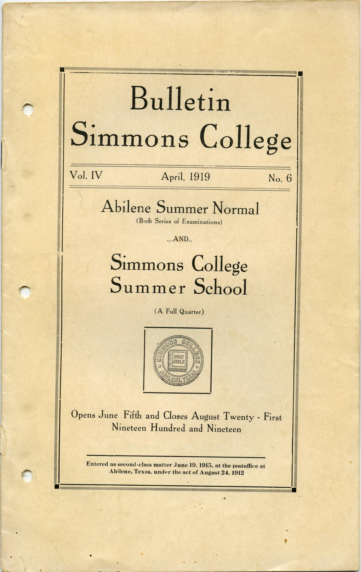 Catalogue of Simmons College, 1919 Summer School and Normal                                                                                                      Front Cover