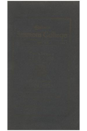 Primary view of object titled 'Catalogue of Simmons College, 1919-1920'.