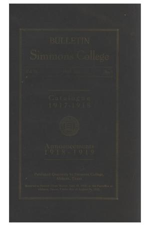 Primary view of object titled 'Catalogue of Simmons College, 1917-1918'.