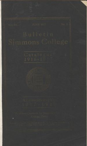 Primary view of object titled 'Catalogue of Simmons College, 1916-1917'.