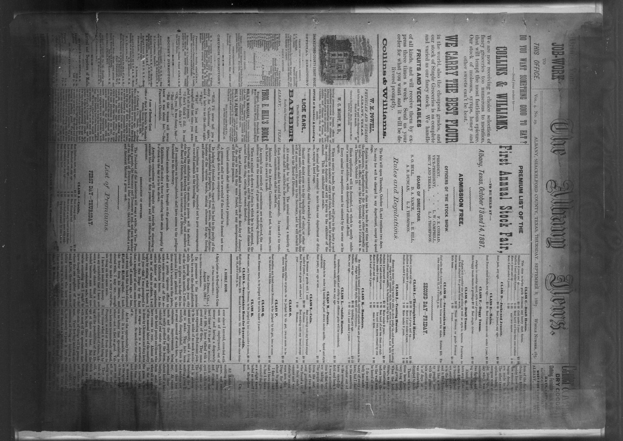 The Albany News. (Albany, Tex.), Vol. 4, No. 29, Ed. 1 Thursday, September 8, 1887                                                                                                      [Sequence #]: 1 of 4