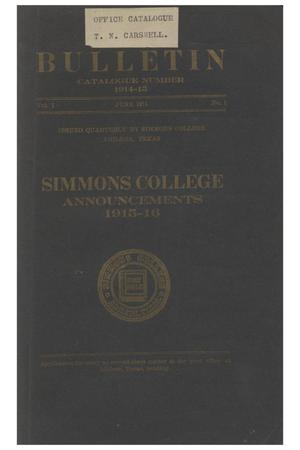 Primary view of object titled 'Catalogue of Simmons College, 1914-1915'.