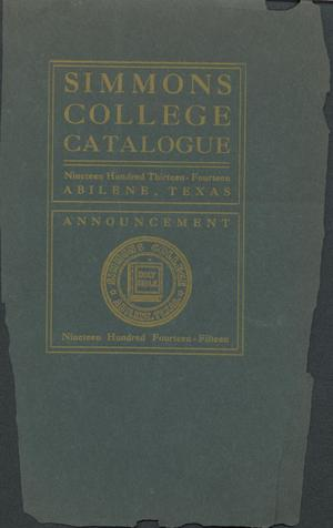 Primary view of object titled 'Catalogue of Simmons College, 1913-1914'.